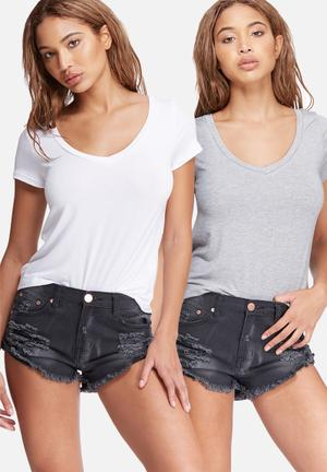 Dailyfriday V-neck Tee 2-pack T-Shirts, Vests & Camis White & Grey