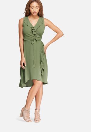 Dailyfriday Frill Midi Wrap Dress Occasion Khaki Green