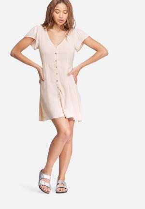 Dailyfriday V-neck Button Up Dress Casual Blush Pink