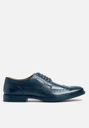 Base London Milton Leather Brogue Formal Shoes Dark Navy