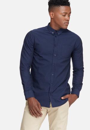 Basicthread Oxford Slim Fit Shirt Navy