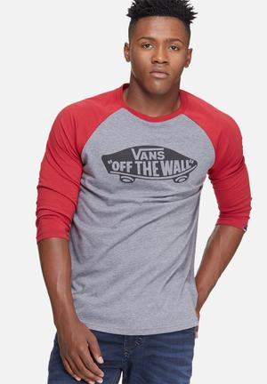Vans OTW Raglan Tee T-Shirts & Vests Grey, Black & Red