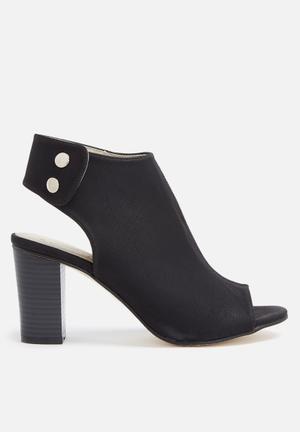 Gino Paoli Peep Toe Bootie Heels Black