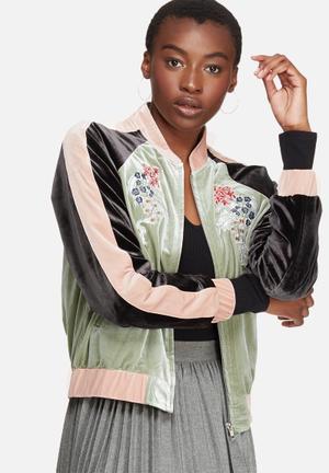 Glamorous Contrast Velvet Bomber Jackets Blush Pink, Mint & Black