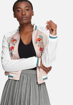 Glamorous Embroidered Bomber Jackets Pink & White