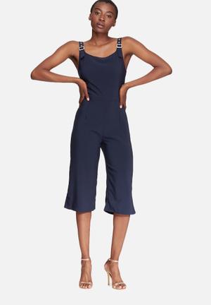 Glamorous Cropped Jumpsuit  Navy
