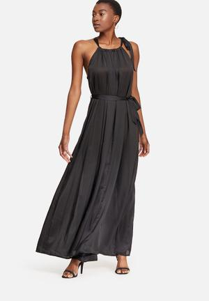 Dailyfriday Self Fabric Tie Satin Maxi Dress Occasion Black