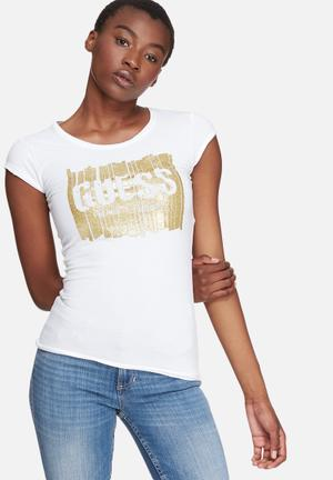 GUESS Glitter Logo Tee T-Shirts, Vests & Camis White