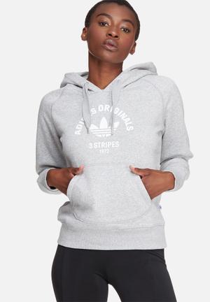 Adidas Originals 3 Stripes Hoodie Hoodies & Jackets Grey & White