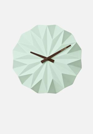 Present Time Origami Wall Clock Accessories Green