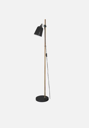 Present Time Wood-like Floor Lamp Lighting Metal