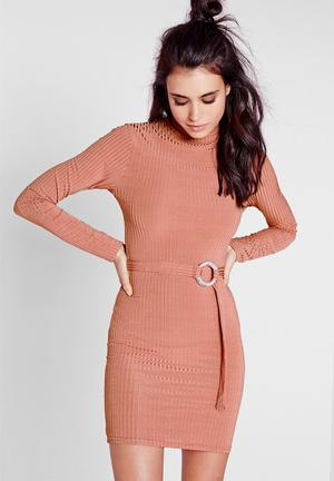 Missguided Long Sleeve Bodycon Occasion Pink
