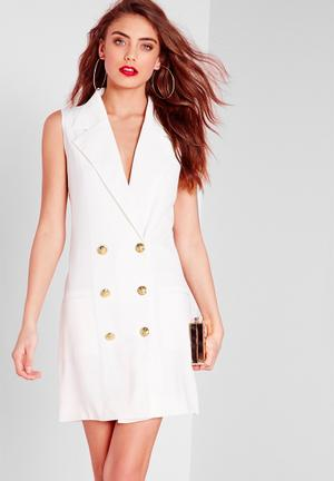 Missguided Tuxedo Wrap Dress Casual White
