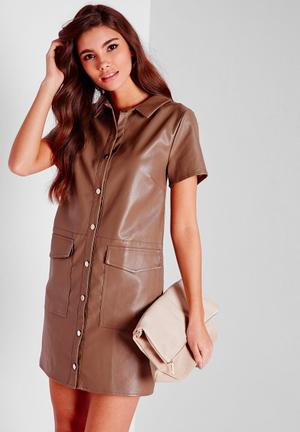 Missguided Faux Leather Button Through Shirt Dress Casual Mushroom