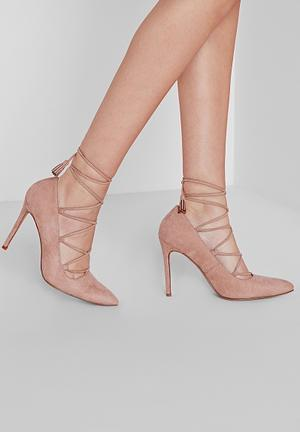 Missguided Lace Up Court Heels Blush