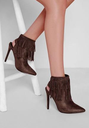 Missguided Fringe Detail Heeled Ankle Boots Brown