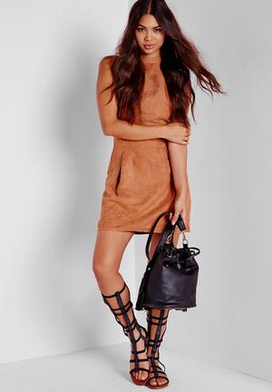 Missguided Faux Suede Lace Up Back Bodycon Dress Casual Tan