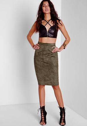 Missguided Faux Suede Midi Skirt Olive Green