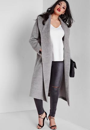 Missguided Plus Size Belted Wool Coat  Grey