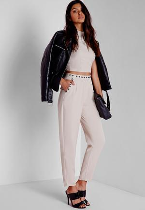 Missguided Stud Detail Cigarette Trousers Grey