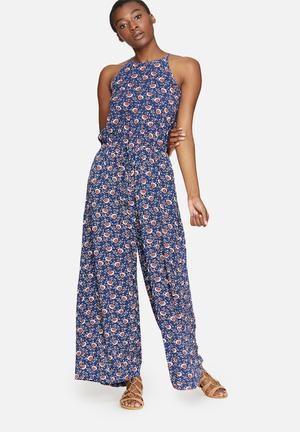 Dailyfriday High Neck Print Jumpsuit Navy, Red, White & Black