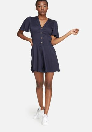 Dailyfriday V-neck Button Up Playsuit Navy