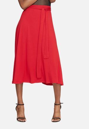 Dailyfriday Tie Waist Midi Skirt Red