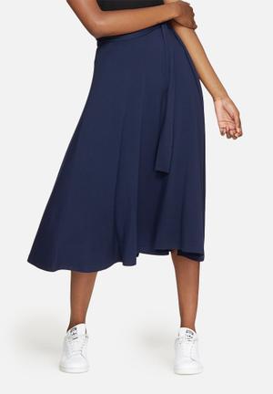 Dailyfriday Tie Waist Midi Skirt Navy