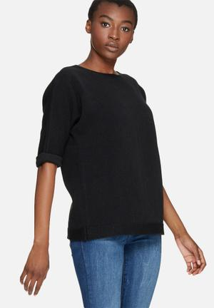 Dailyfriday Slouchy 3/4 Sleeve Knit Knitwear Black