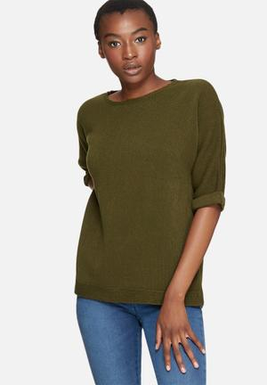 Dailyfriday Slouchy 3/4 Sleeve Knit Knitwear Khaki Green