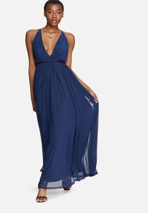 Missguided Pleated Plunge Maxi Occasion Navy