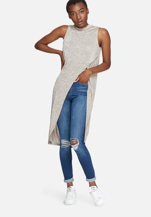 Vero Moda Verona Long Top Blouses Grey Melnage