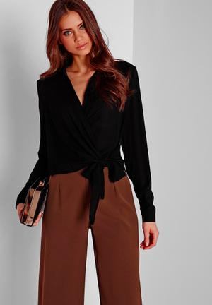 Missguided Wrap-over Blouse Black