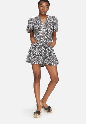 Dailyfriday V-neck Button Up Playsuit Black With Daisy Print