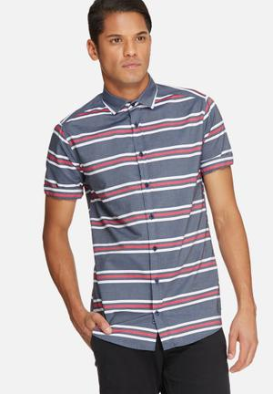 Basicthread Stripe Slim Fit Shirt Navy, Red & White