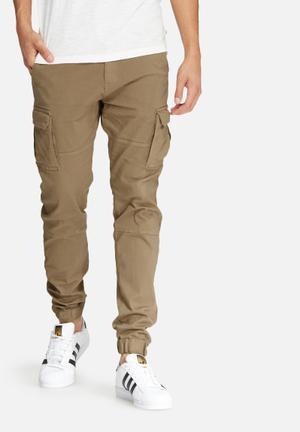 Basicthread Slim Cuffed Utility Pants Khaki Brown