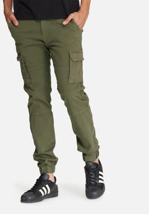 Basicthread Slim Cuffed Utility Pants Khaki Green