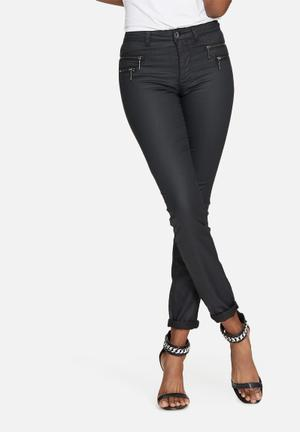 ONLY New Olivia Coated Pants Trousers Black