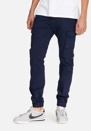 Basicthread Slim Cuffed Utility Pants Navy