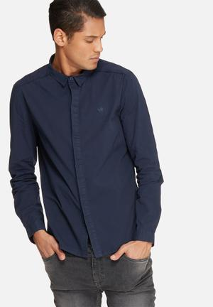 Sergeant Pepper Concealed Button Slim Shirt Navy