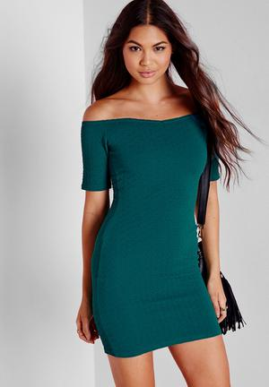 Missguided Textured Bardot Bodycon Dress Casual Teal