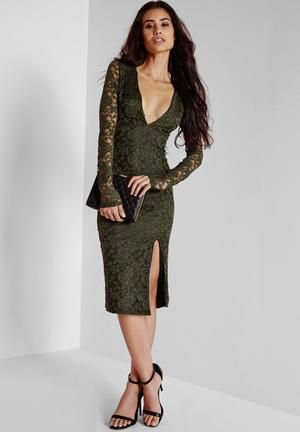 Missguided Lace Long Sleeve Side Split Dress Occasion Khaki