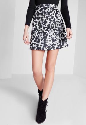 Missguided Leopard Print A-Line Mini Skirt  Black & White