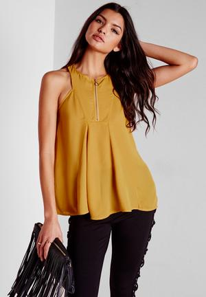 Missguided Zip Swing Cami Blouses Yellow