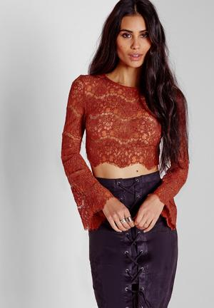 Missguided Lace Bell Sleeve Crop Top Blouses Rust