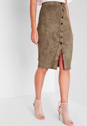 Missguided Button Faux Suede Midi Skirt Khaki