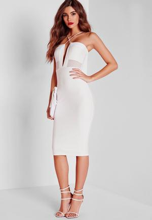 Missguided Textured Mesh Midi Dress Occasion White