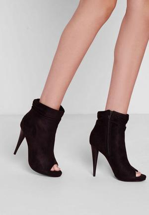 Missguided Ruched Peep Toe Ankle Boots Black