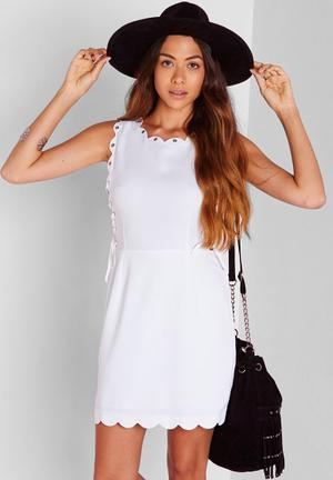 Missguided Lace Up Scallop Shift Dress Casual White