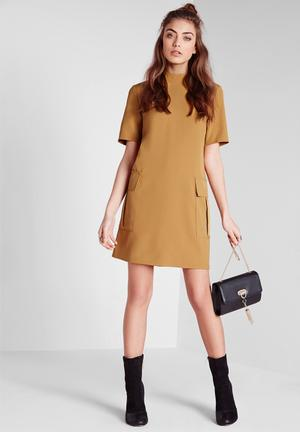 Missguided High Neck Short Sleeve Shift Dress Casual Olive